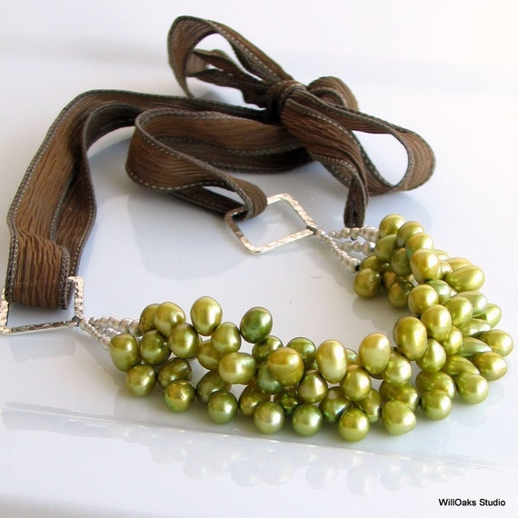 Pear Green Pearl Bib Necklace, Chartreuse Freshwater Pearls, Multi-strand Statement on Silk Ties, Deluxe Necklace Gift for Her
