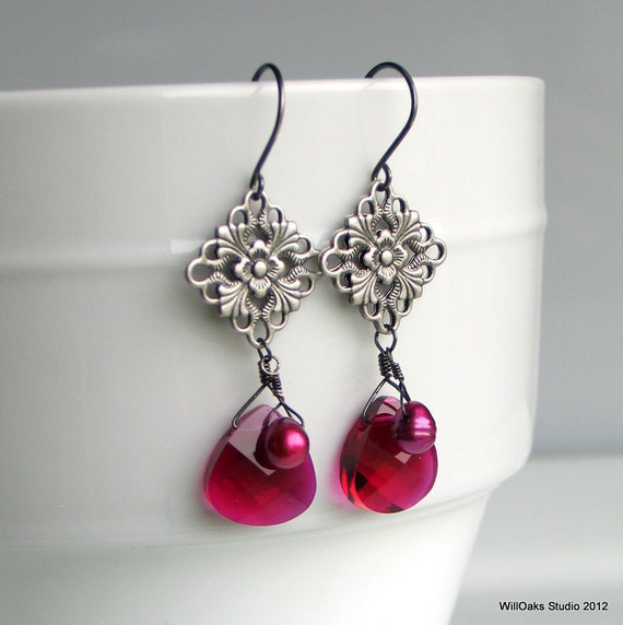 Ruby Pink Crystal Drops, Fuchsia Pearl Antique Silver Medallion Earrings, Ruby Red July Birthday, Fun Fashion Dangle Earrings
