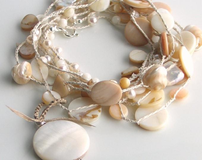Featured listing image: Ivory Crocheted Silk Seashore Treasures Necklace, Spring Wrap Cuff, Long Chain, Boho Wedding, White, Ivory, Ecru, Beige, WillOaks Studio