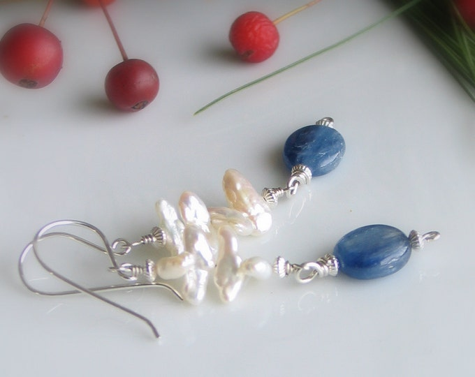 Featured listing image: White Pearl and Kyanite Dangle Earrings, White and Blue Drops, Sky and Sea Art Jewelry, Nature Inspired Originals, Pearl & Gemstone Dangles