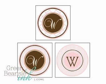 COLORS of your CHOICE - MONOGRAM Printable Labels