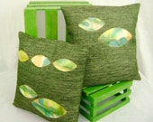 """SALE - 14"""" Pillows, Set of 2, Including Form Inserts - Hand Painted Appliques - Petals"""