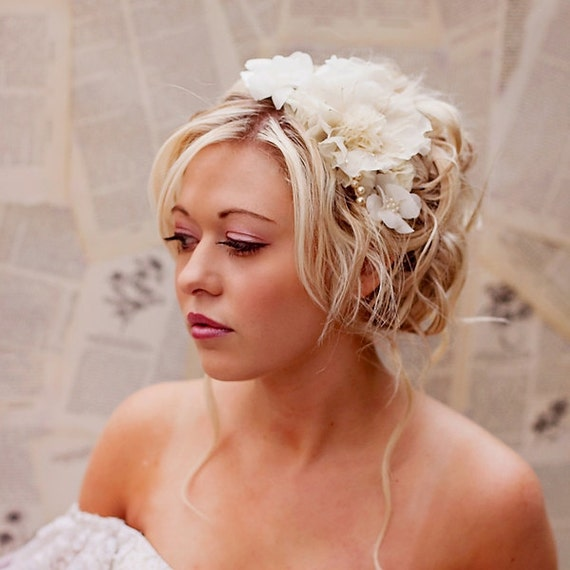 Wedding Hair Accessories- Champagne wedding hair piece - Bridal flower headpiece   - vintage wedding