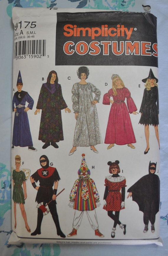 Simplicity 9175 - Mix-and-Match Kids' Halloween Costumes - Wizard, Witch, Princess, Fairy, Clown, Bat, Etc.  FUN - SALE