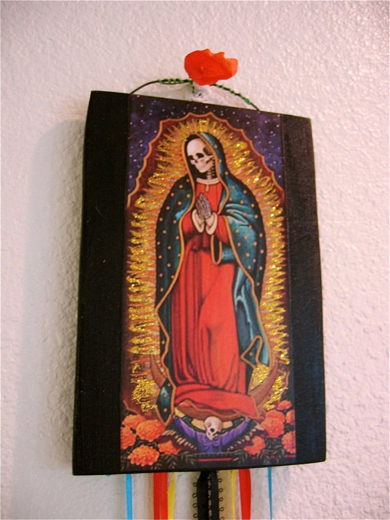Day of the Dead Sparkly Calavera Guadalupe Decorative Tile with Vintage Medals- Santa Muerte