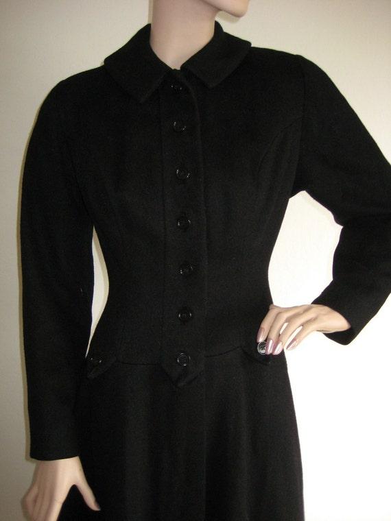 "Lovely Vintage Black Wool Fitted 1950's Princess Coat by ""Lassie Junior"" / ""Blum's"""