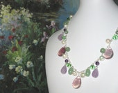 SALE Colorful Teardrop Gemstone Necklace,Pastel Spring Amethyst Pearl and Jade Natural Gemstones,Classy Feminine Stylish Fashion Necklace