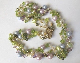 SALE, Feminine Mixed Pastel Pearl Necklace,Colorful Multi Strand Gemstone Necklace,Amethyst,Peridot,Designer One of a Kind Pearl Jewelry,204