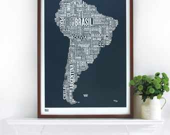 South America Type Map - decorative screen print