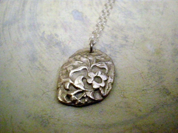 Silver flower pendant necklace - Sterling silver necklace