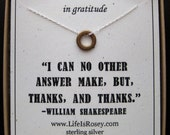 Thank You Gift - Necklace Quote Card - Thank You Card - Shakespeare Thank You Necklace - Eighth Anniversary Bronze