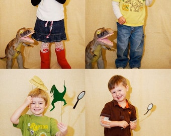Dinosaur Printable PHOTO BOOTH PROPS - Editable Text Instant Download | Paper and Cake