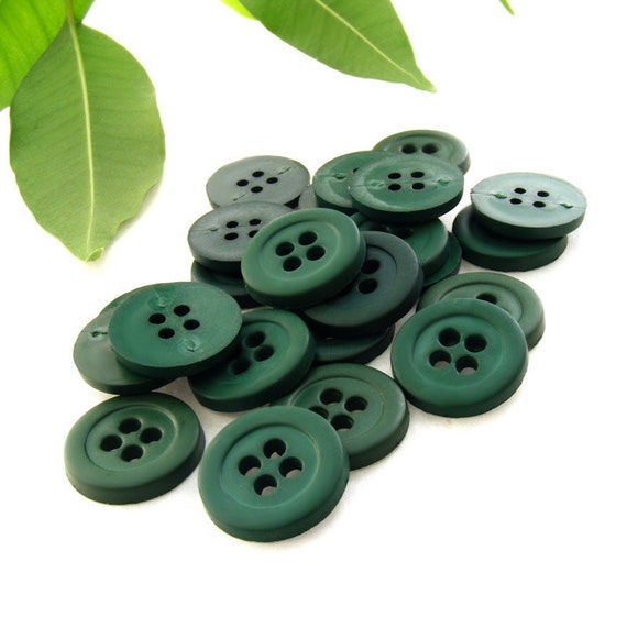 Bulk Lot of 300 Round 4-Holed Plastic Craft Buttons - Smooth Lipped Solid Matte Deep Greens (13mm)