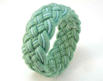 blue green rope bracelet turks head knot sea and sky hand dyed cotton cord arm band 2398