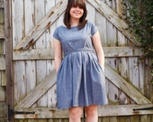 For Katie- Gray Chambray Dress- Short sleeve Full Skirt 1950's Vintage Inspired Cocktail Party Dress