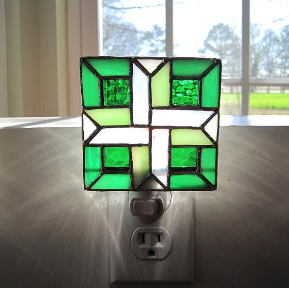 Christmas Green Geometric Stained Glass Night Light