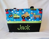 Personalized Construction Work Boy Diaper Bag.... Large diaper bag.... Embroider with your name