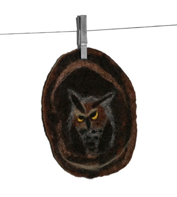 Owl Patch Applique or Wall Hanging - Great Horned Owl - Handmade 100% Wool Great Gift For Owl Lover - READY TO SHIP