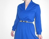 60s 70s Cobalt Blue Hi-Collar Secretary Dress (small) midi