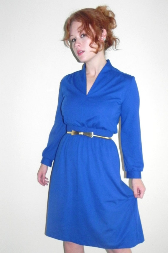 60s 70s Cobalt Blue Hi-Collar Secretary Dress (small) midi