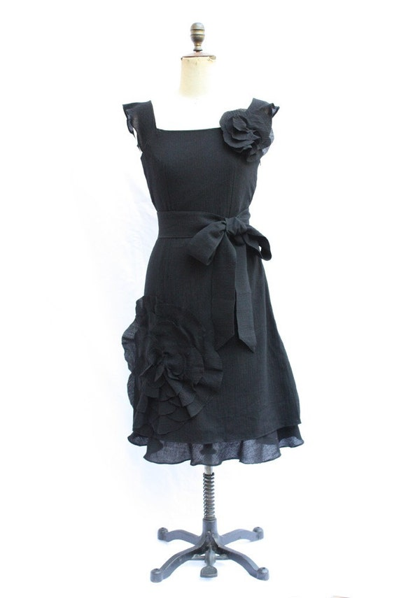 Black Oversized flower corsage dress belt and ruffle layer, bridesmaid dress, mother of the bride, wedding, custom, bridesmaids dress