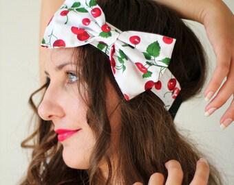 Rockabilly Cherry Print Bow Headband by Mademoiselle Mermaid