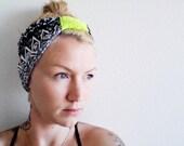 The Boho Turban Headband- In Tribal Print with Neon