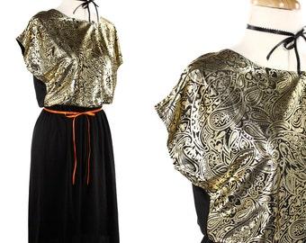 1970s Disco Dress - Shiny Liquid Gold & Black Paisley Vintage Party Dress - size Small to Medium