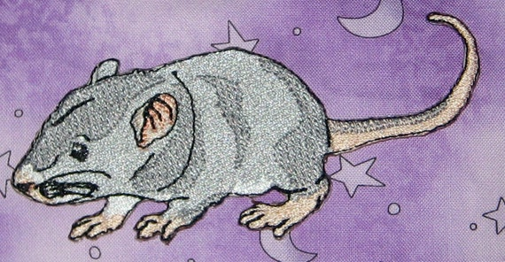 Fancy Silver Blue Baby Rat Pup Hopper Self  Rat Steam Punk  Iron on Patch