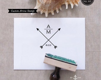 Arrow Stamp - Wedding Favor Stamp - Save the Date Stamp - Custom Stamp - Arrows - Monogram Stamp - Save the Date