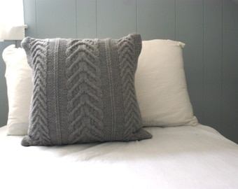 Knit Pillow Cover, Staghorn Cable Knit Pillow Sham in Gray