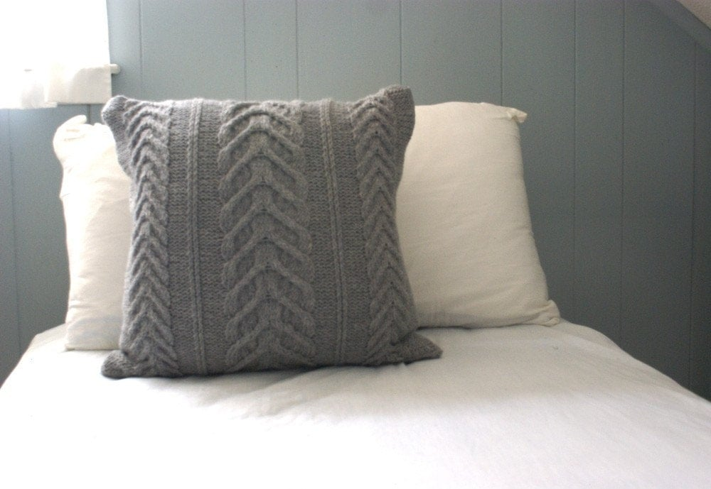 Cable Knit Pillow Pattern : Knit Pillow Cover Staghorn Cable Knit Pillow Sham by PreciousKnits