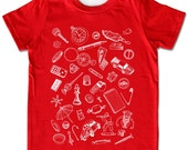 ON SALE, Children's Collect Small Objects T-shirt, red short sleeve, Sizes Infant to Toddler, awesome birthday gift for baby boy