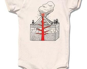 Exploding VOLCANO infant bodysuit, children shirt sizes avaialbe - Organic cream short sleeve, Now on Sale