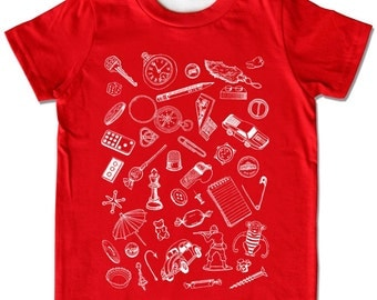 ON SALE, Children's Collect Small Objects Shirt, red short sleeve, Sizes Infant to Toddler, awesome birthday gift for baby boy