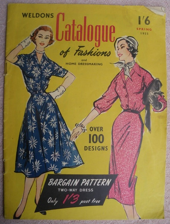 Vintage 1950s Sewing Patterns Catalog Book 50s - Weldons Catalogue of Fashions and Home Dressmaking Spring 1955