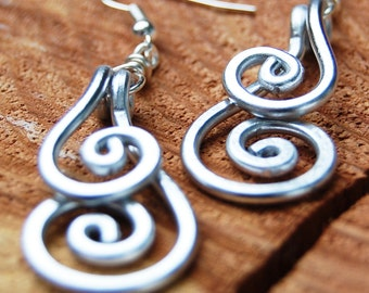 Silver. Aluminum. Double. Spiral. Earrings.