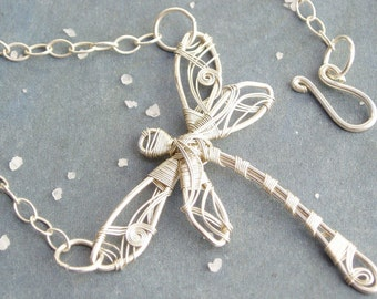Dragonfly Silver Necklace. Unique Jewelry. Wire Wrapped Necklace. Dragonfly Jewelry. Asymmetrical Necklace.