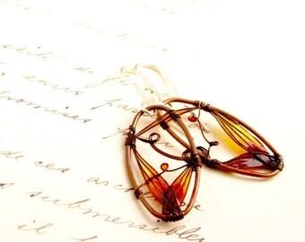 Autumn Earrings. Amber Earrings. Dark Copper Earrings. Dangle Earrings. Oval Earrings. Fall Fashion. Orange Earrings. Colorful Jewelry.