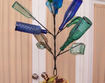 Hanging Wine BOTTLE TREE - Yard, Garden, or Porch - Holds 12 Bottles