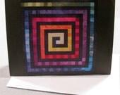Art Quilt Note Card - Rainbow Spiral