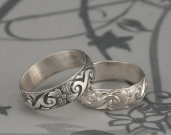 Silver Flower Band--Floral and Swirl Wedding Ring--Midnight in the Garden Sterling Silver Floral and Swirl Patterned Wedding Band or Ring