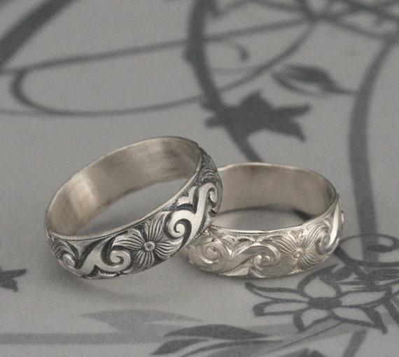 Silver Flower BandFloral And Swirl Wedding RingMidnight In