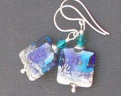 lampwork glass earrings  white  and rich blue two tone silvered beads-  oceania