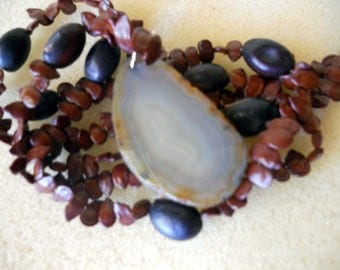 Vintage Seed Necklace with Brown Gray Turkish Agate Pendant
