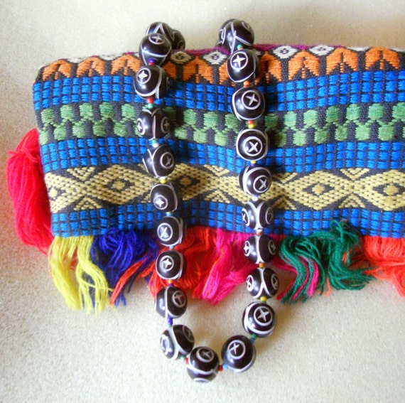Ethnic Carved Bead Necklace in Black and White with Multicolored African Trade Beads