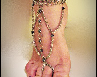 Pair Chainmail bare foot sandal foot flower slave anklet