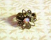Ring - Swarovski and Antiqued Brass Round Filigree Ring - Adjustable - Iridescent Austrian Crystal Jewelry