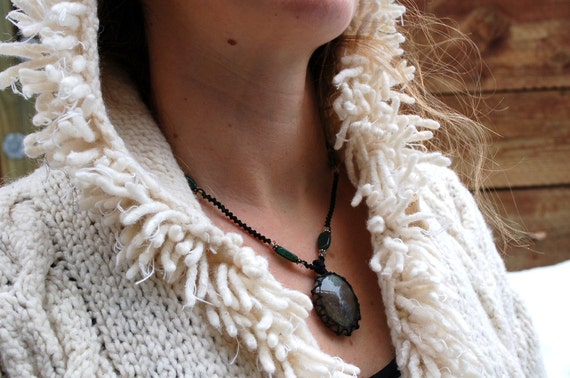 organic moss agate macrame necklace - Your Cleansing Stone- bohemian healing crystal pendant ethereal