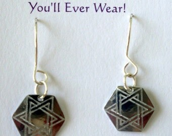 Star Of David Dangly Aluminum Earrings